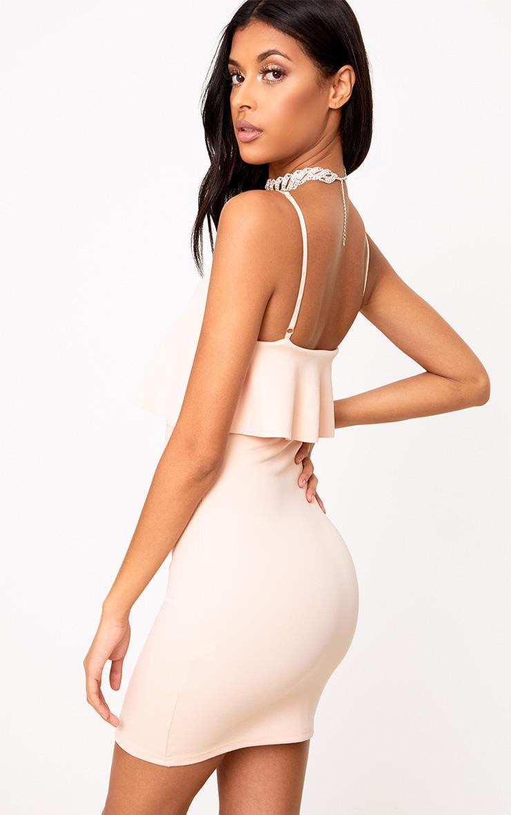 Nude Fril Overlay Bodycon Dress 2