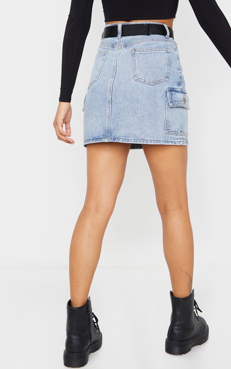 Vintage Wash Utility Belted Denim Skirt 4