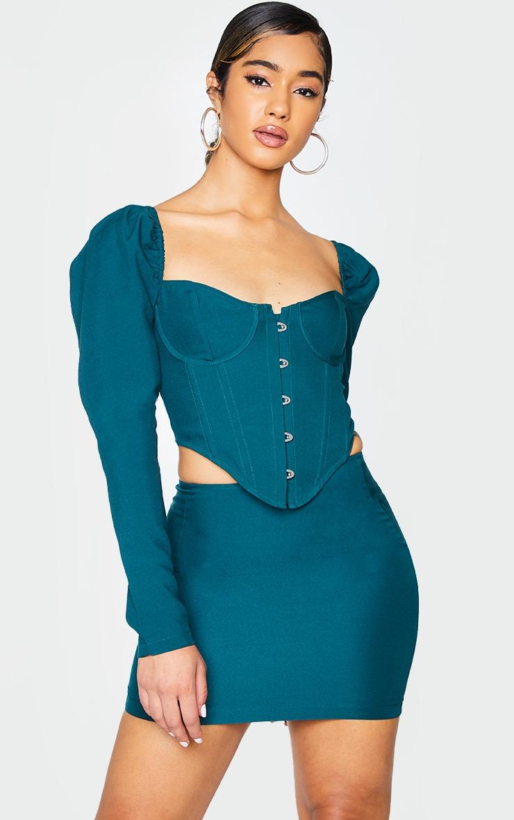 Bottle Green Woven Mini Skirt 4