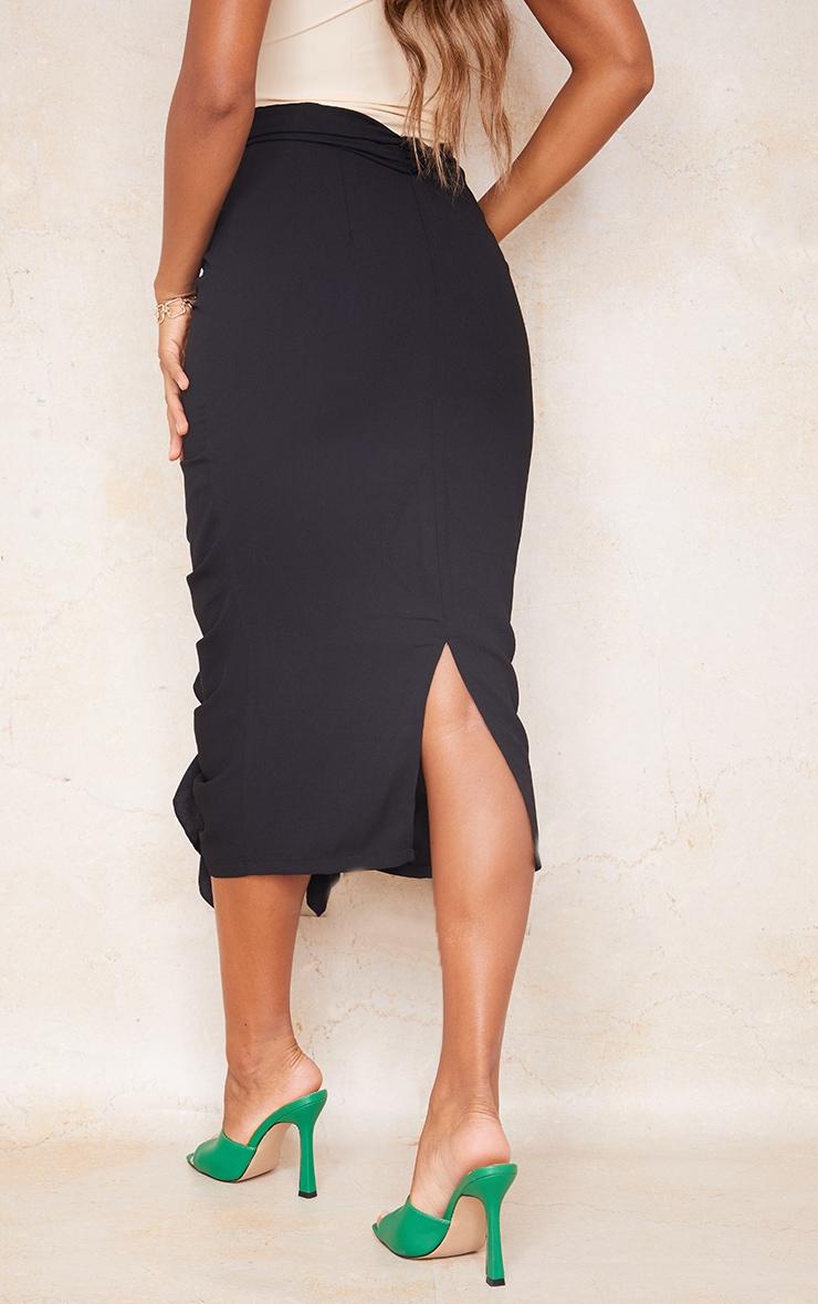 Black Hook And Eye Ruffle Front Midaxi Skirt 3