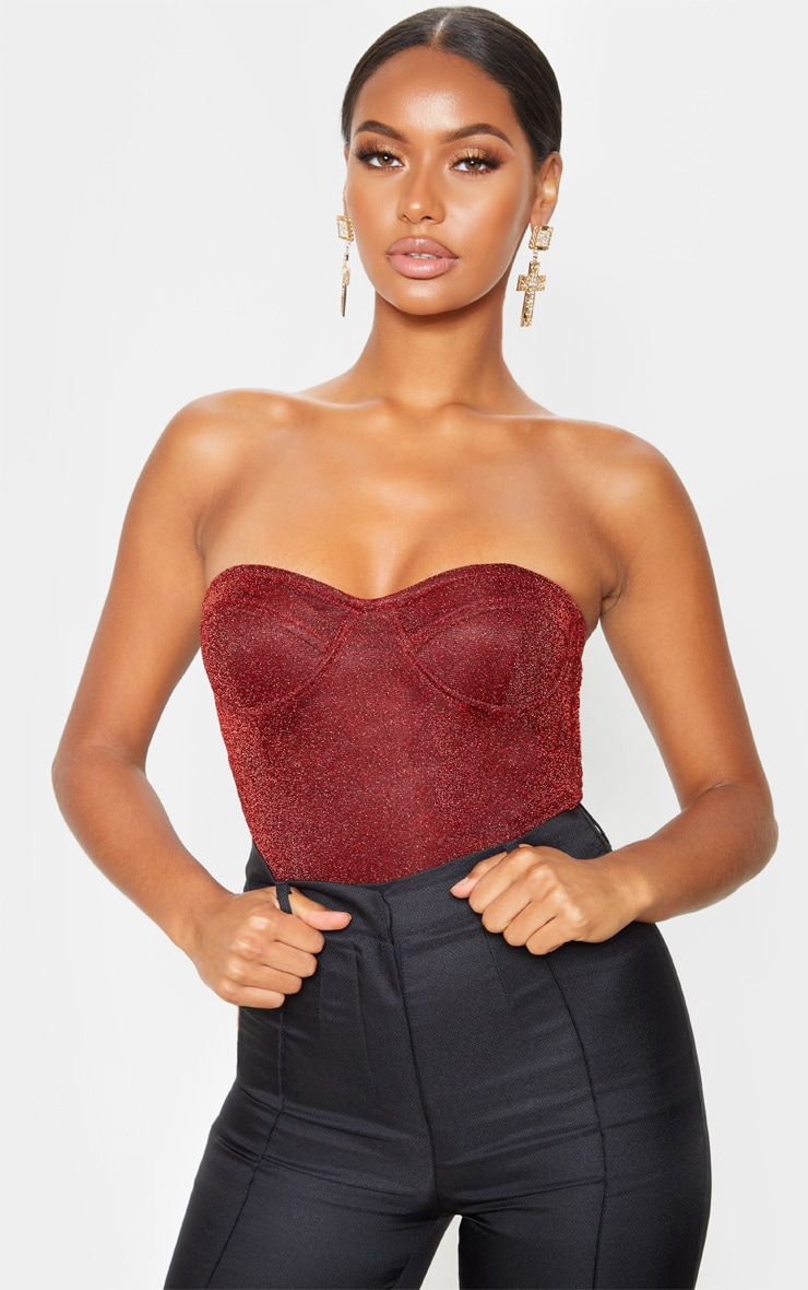 Red Glitter Bandeau Cupped Bodysuit  1
