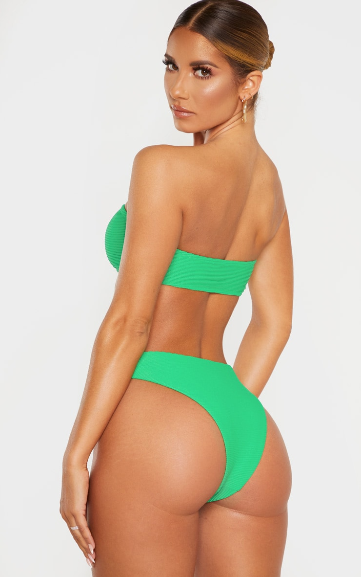 Green Ribbed Bandeau Bikini Top 2