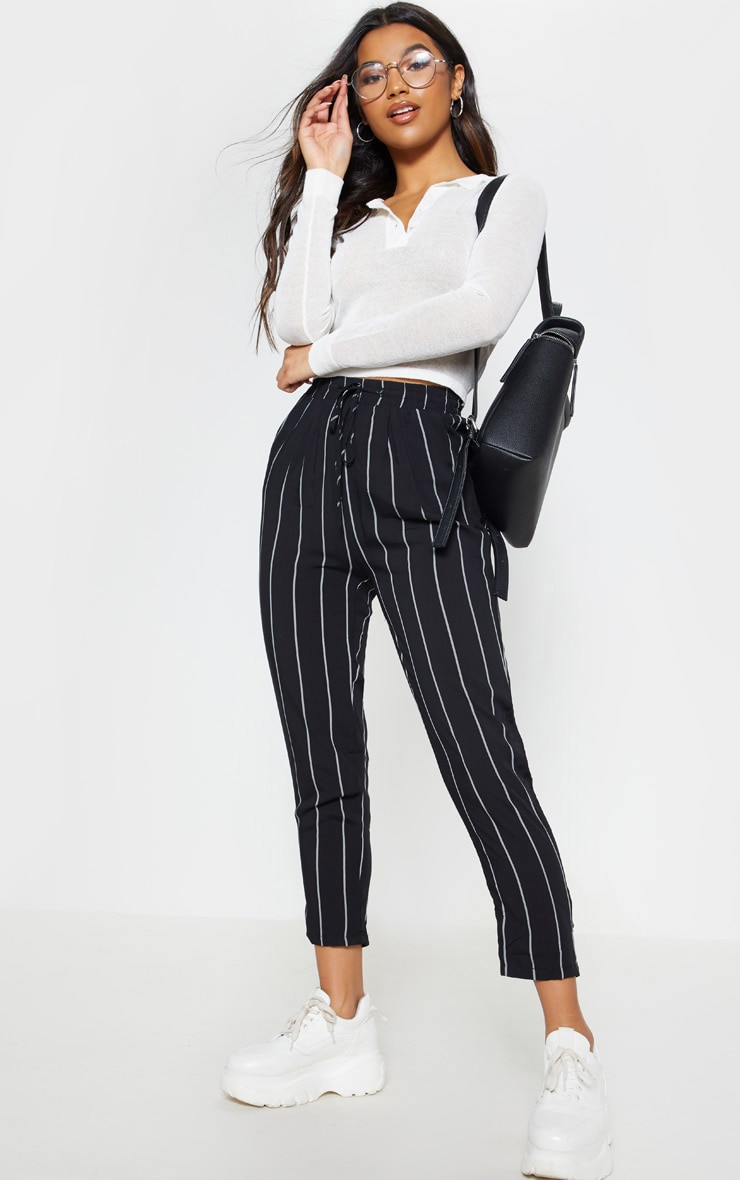 Diya Black Pin Stripe Casual Trousers  1