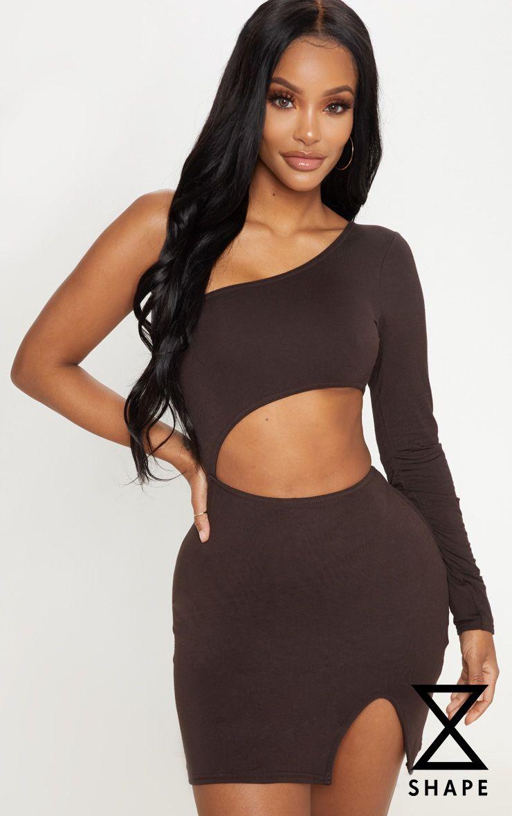 Shape Chocolate Brown Asymmetric Cut Out Bodycon Dress 1