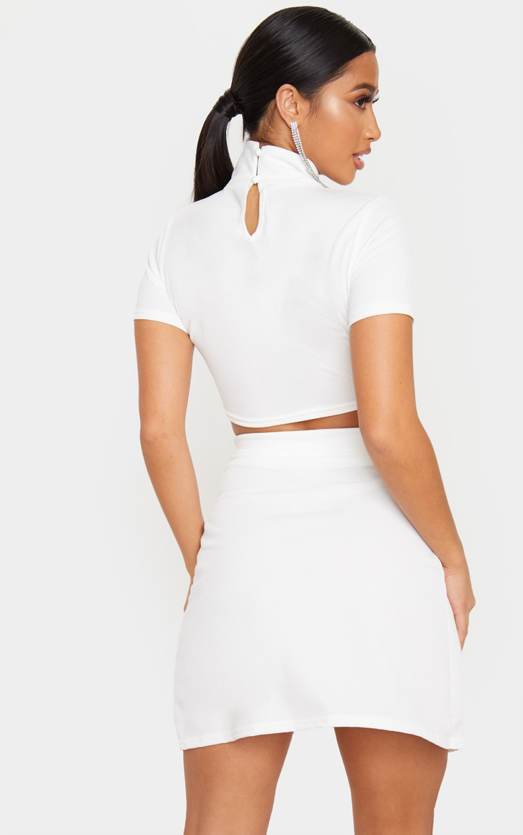 Petite Cream Crepe Oriental Collar Crop Top 2
