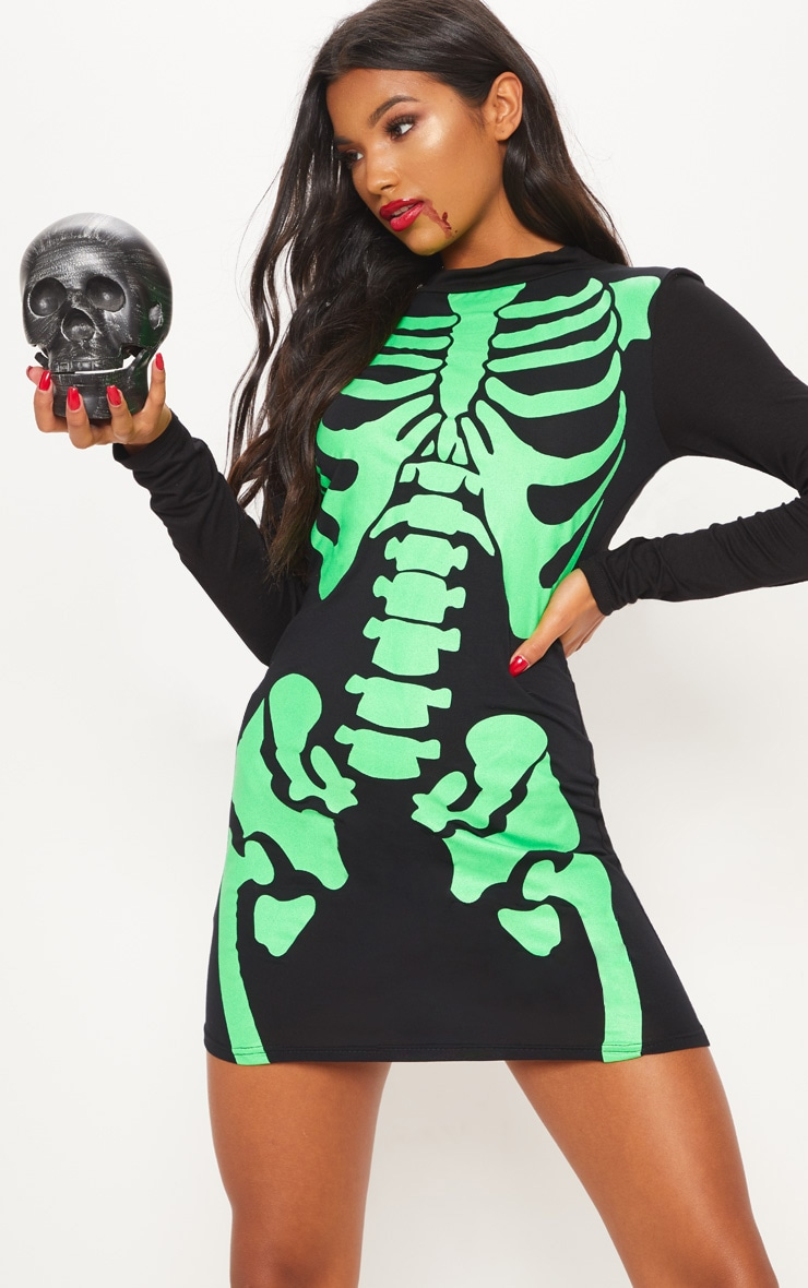 Black Neon Skeleton Print Long Sleeve Bodycon Dress 4