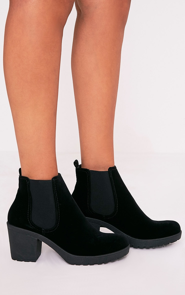 Daria Black Faux Suede Heeled Ankle Boots 2