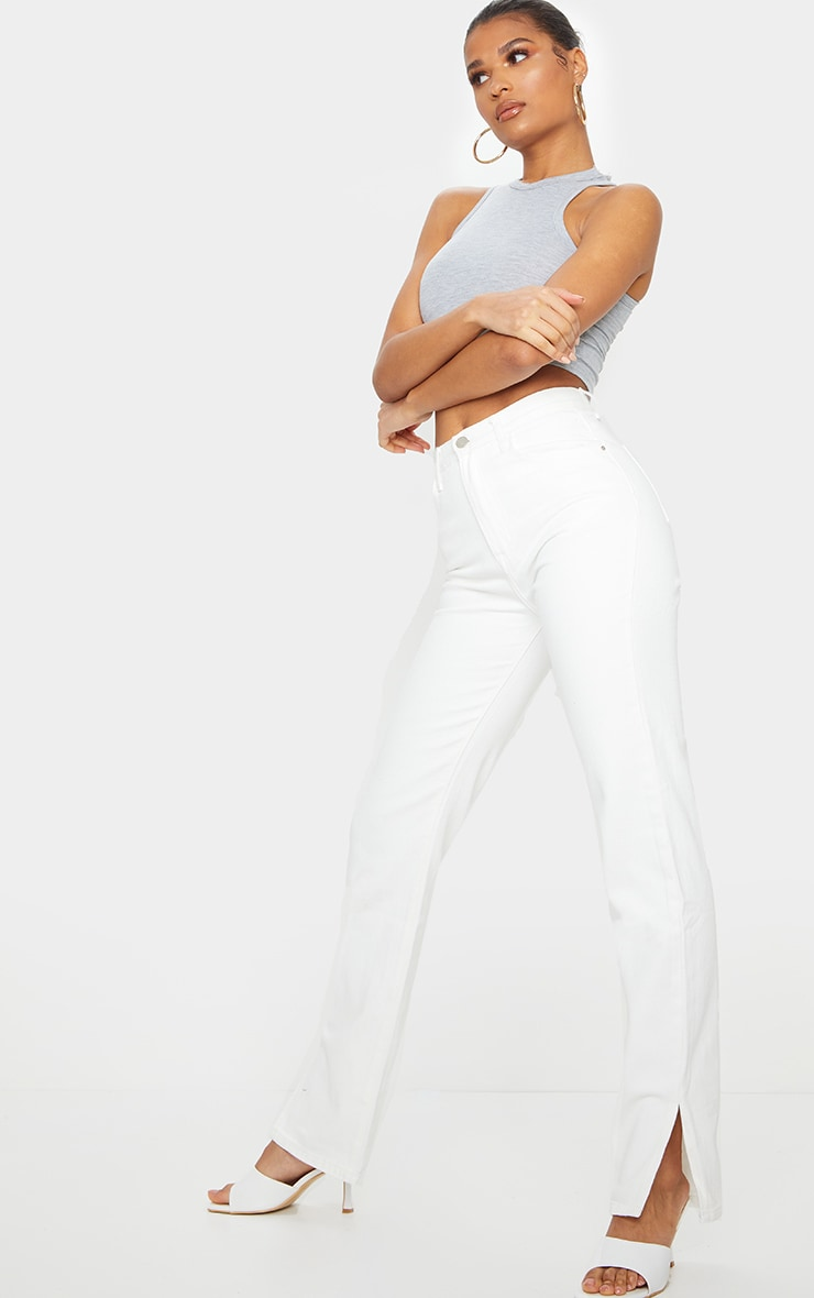 White Long Leg Split Hem Straight Jeans 1