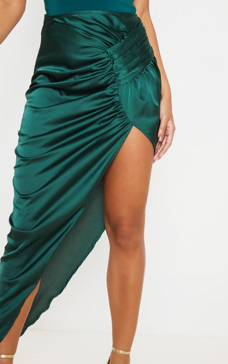 Emerald Green Satin Pleat Detail Midaxi Skirt 5