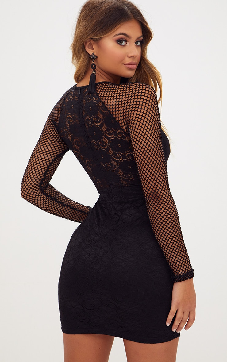 Black Long Sleeved Panelled Lace Bodycon Dress 2