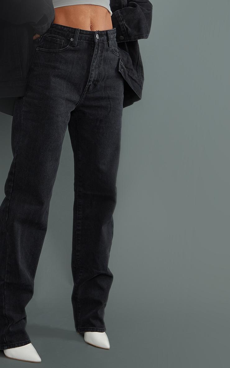 Washed Black High Waist Straight Leg Jeans 4
