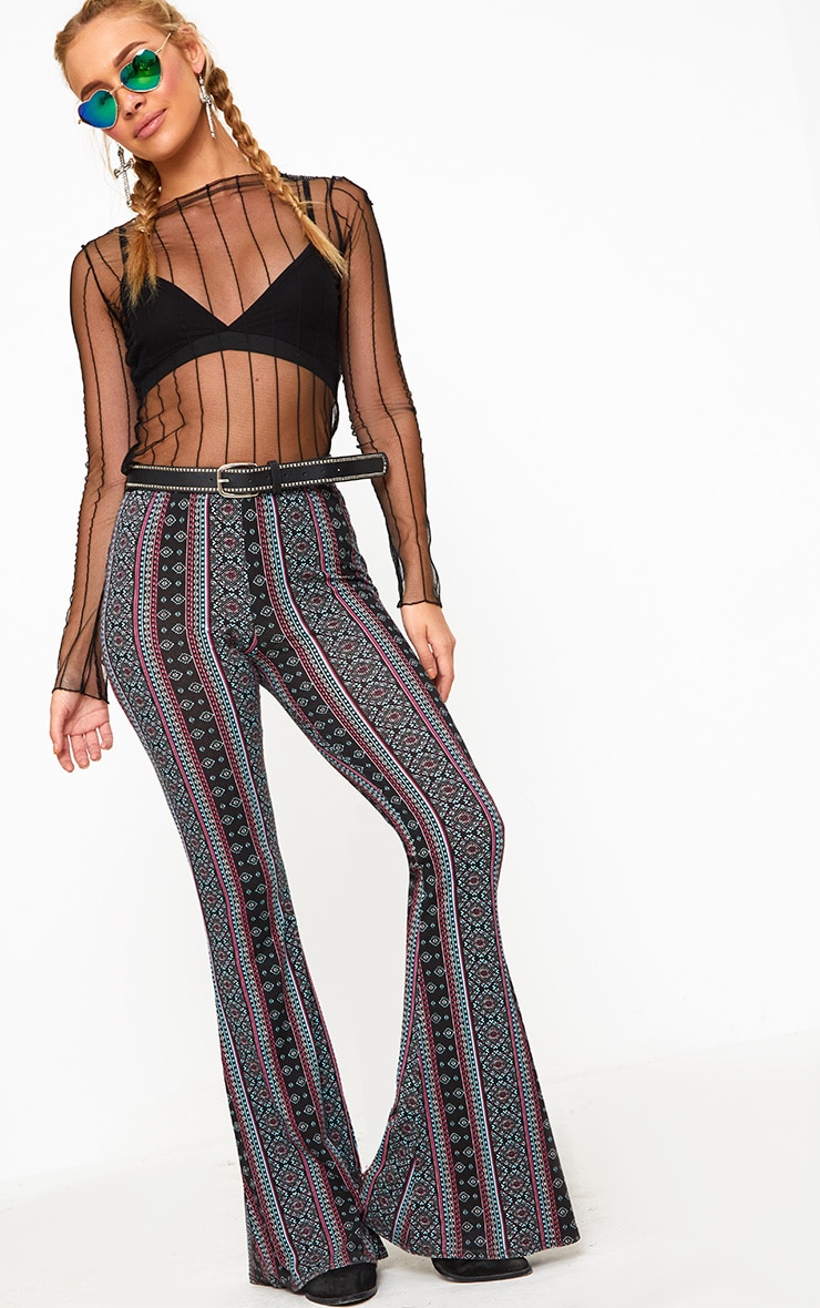 Burgundy Printed Jersey Flare Trousers 1