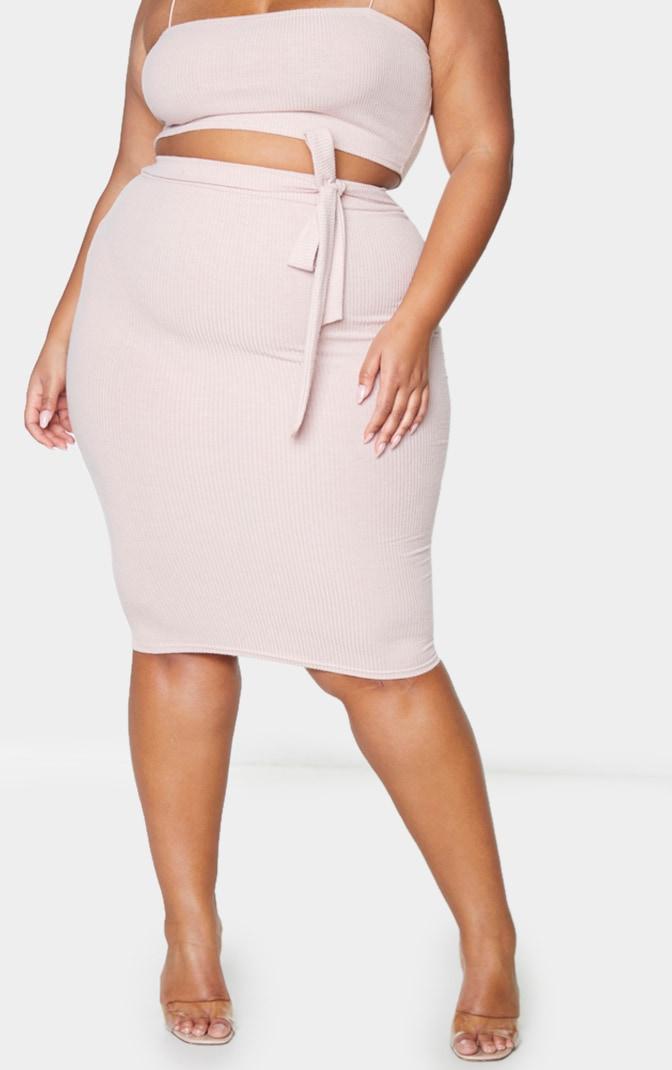 Plus Dusty Pink Soft Rib Midi Skirt 2