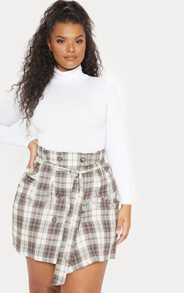 Plus Taupe Check Tie Waist Button Detail Mini Skirt 1