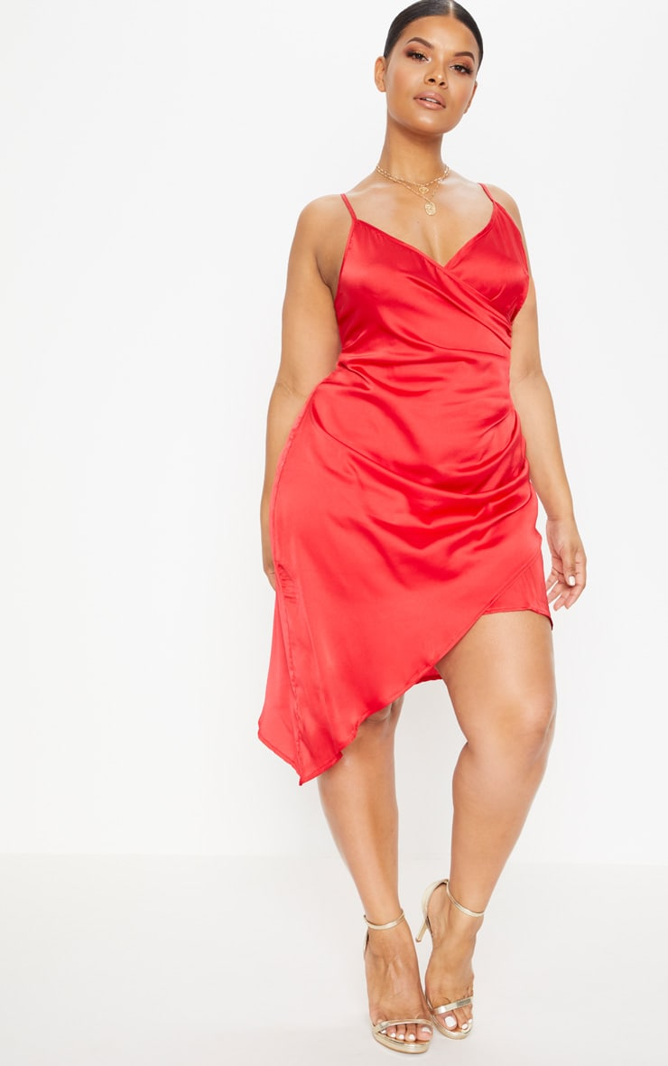 Red Plus Satin Wrap Dress 4
