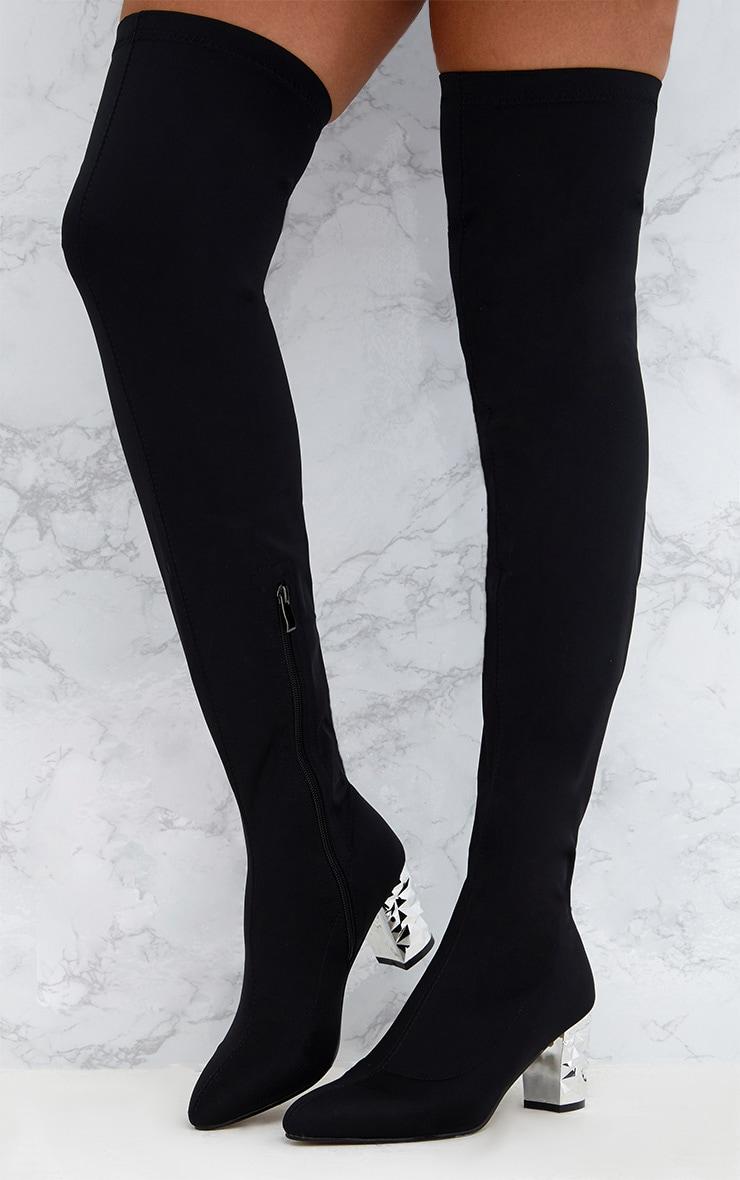 Black Metallic Heel Lycra  Thigh High Boots 2