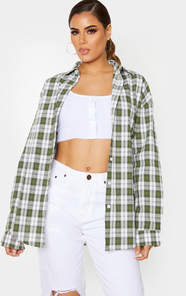 Tall Khaki Oversized Checked Shirt 1
