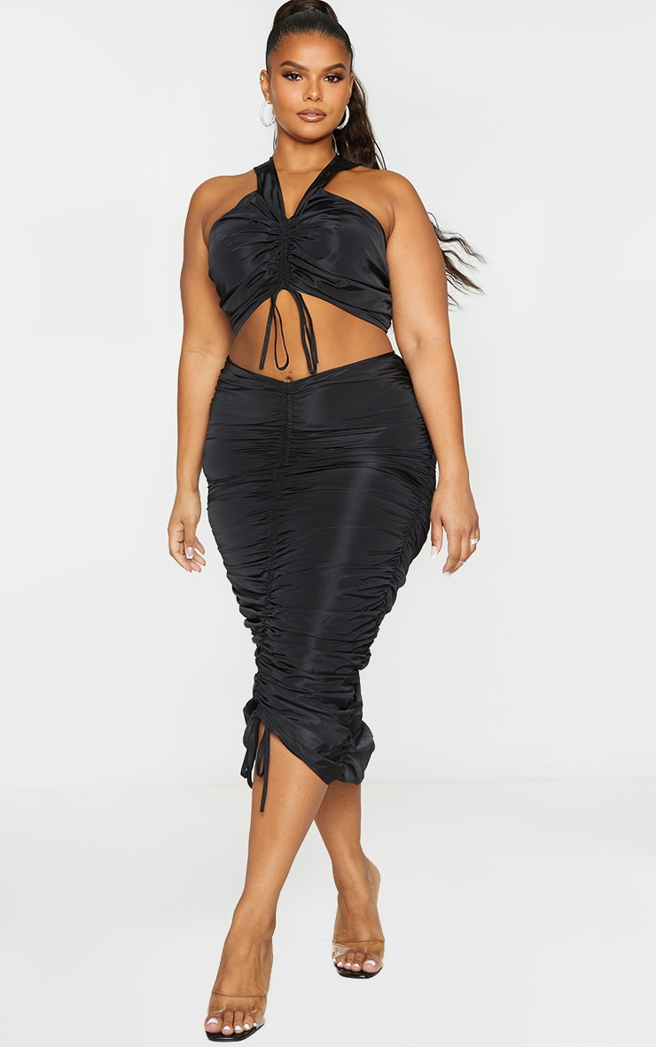 Plus Black Shell Ruched Front Crop Top 3