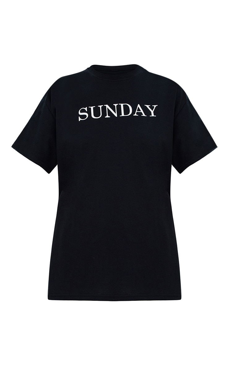 Black SUNDAY Slogan T Shirt 3