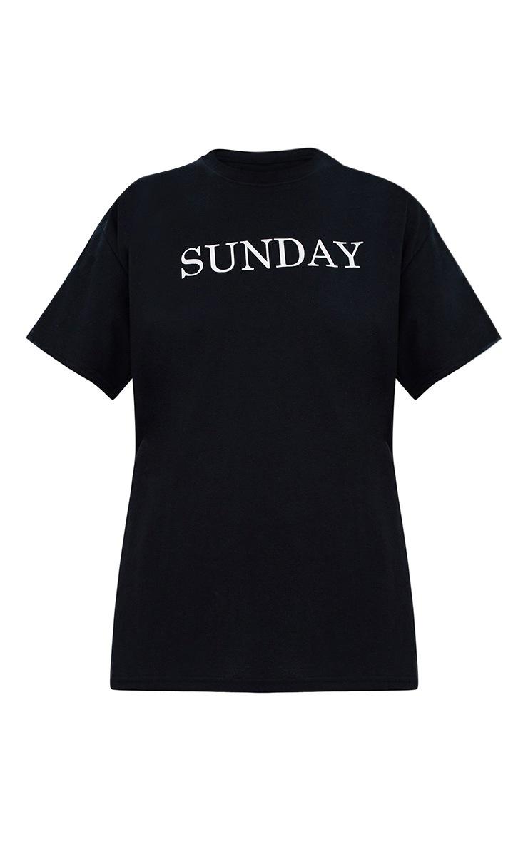 T-shirt à slogan SUNDAY noir 3