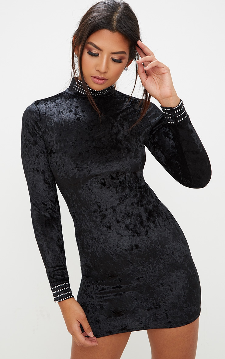 Black Velvet Stud Detail High Neck Long Sleeve Bodycon Dress image 1 2846c1c30