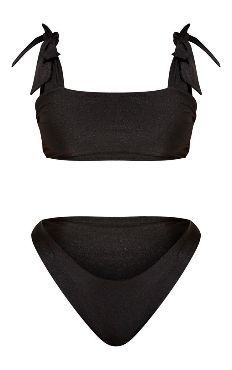 Plus Black Tie Shoulder Bikini Set 5