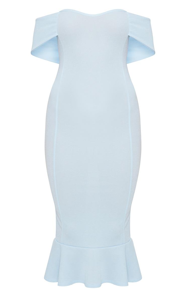 Dusty Blue Bardot Frill Hem Midi Dress 3