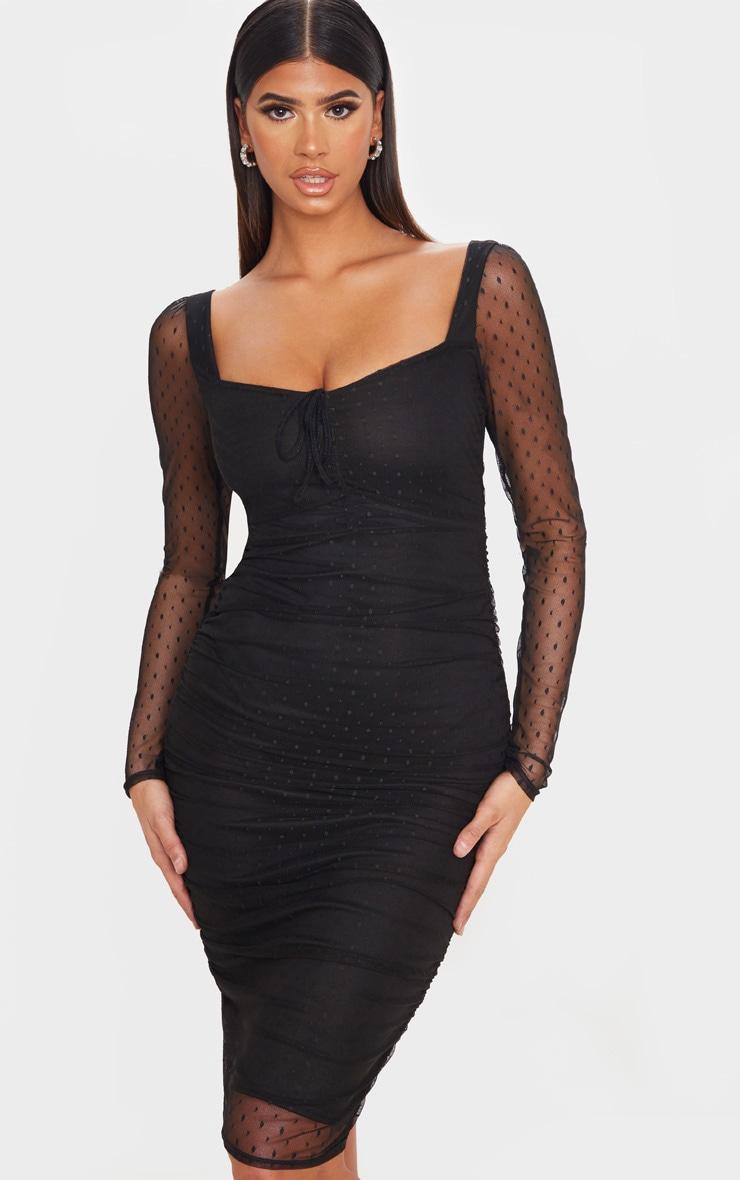 Black Dobby Mesh Ruched Long Sleeve Midi Dress 1