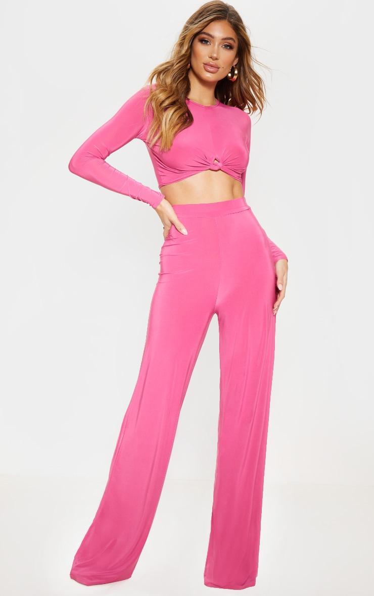 Hot Pink Slinky Palazzo Pants 1