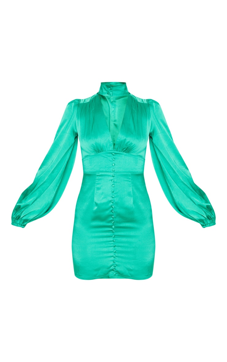 Green Satin Button Down Long Sleeve Plunge Bodycon Dress 3