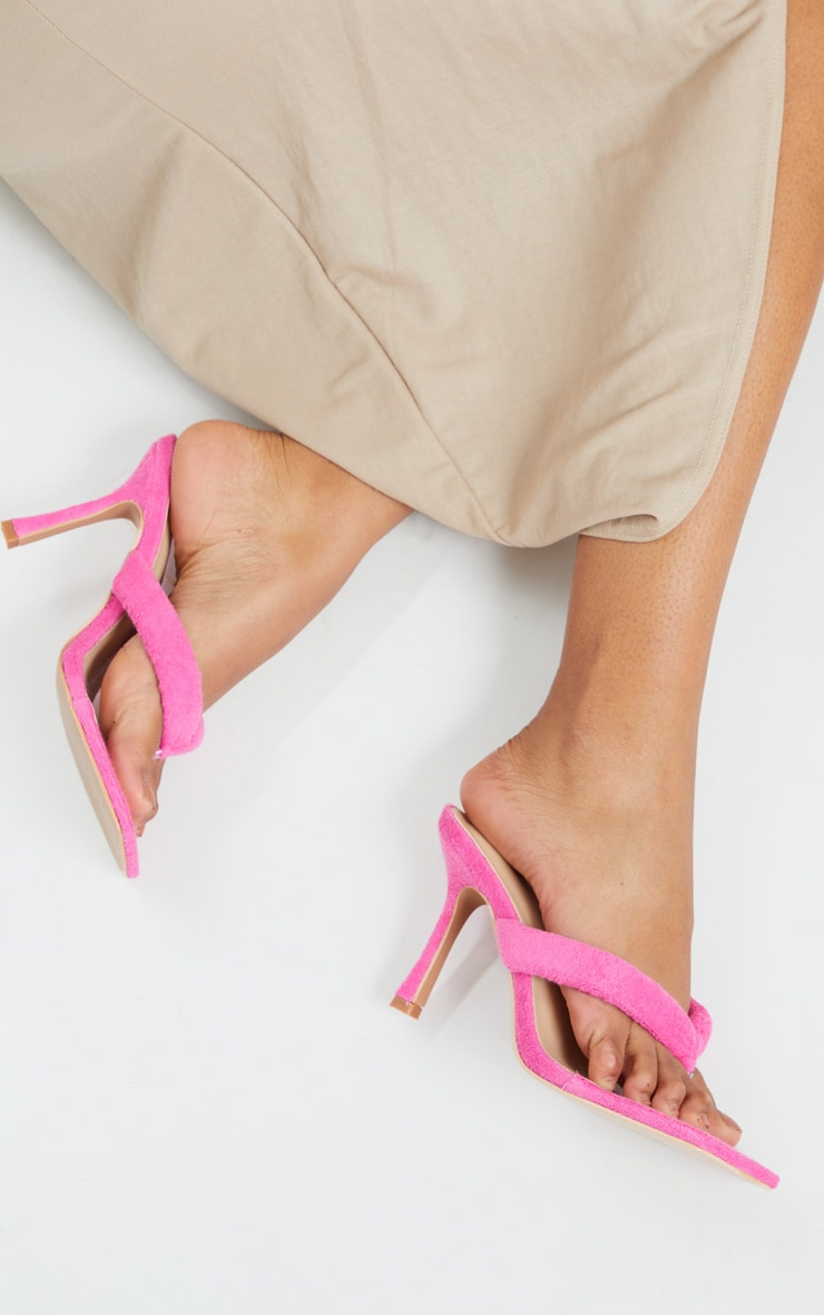 Pink Towelling Tube Strap Toe Thong Mid Heels 2