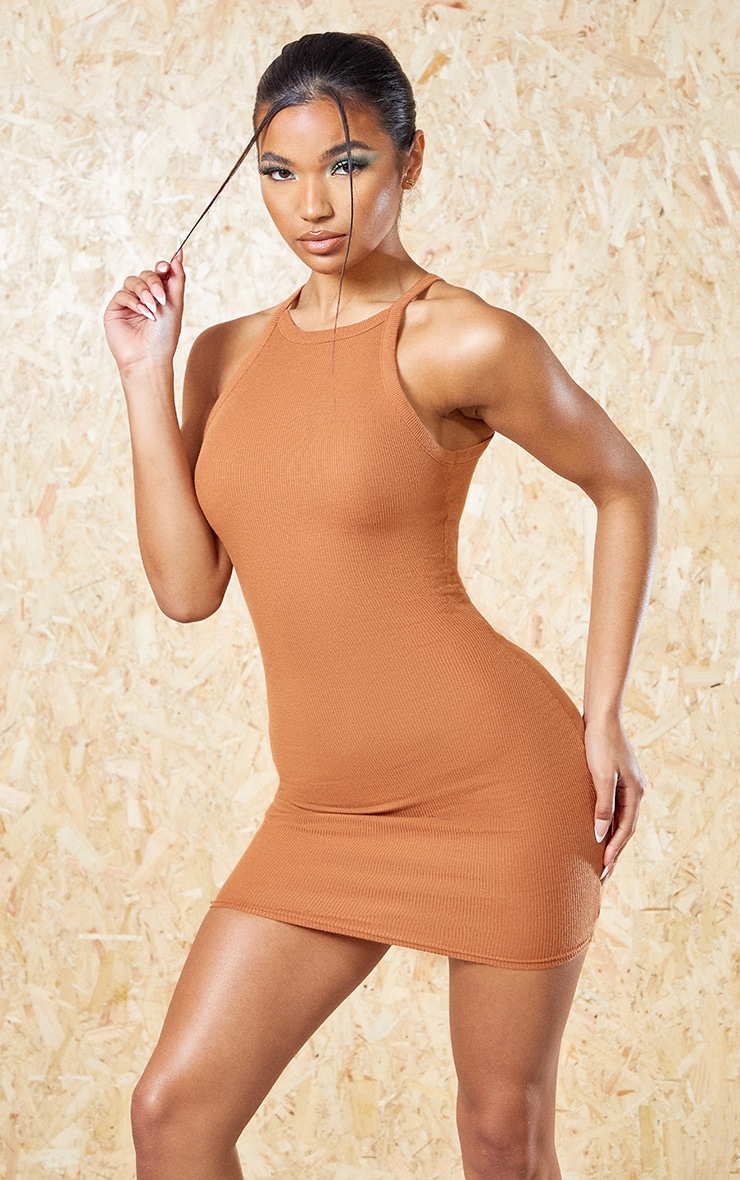 Rust Recycled Rib Racer Neck Bodycon Dress 1