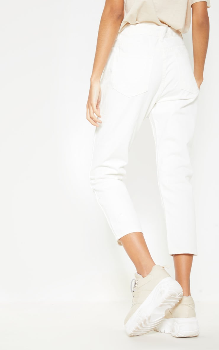 Cropped White Mom Jeans 4