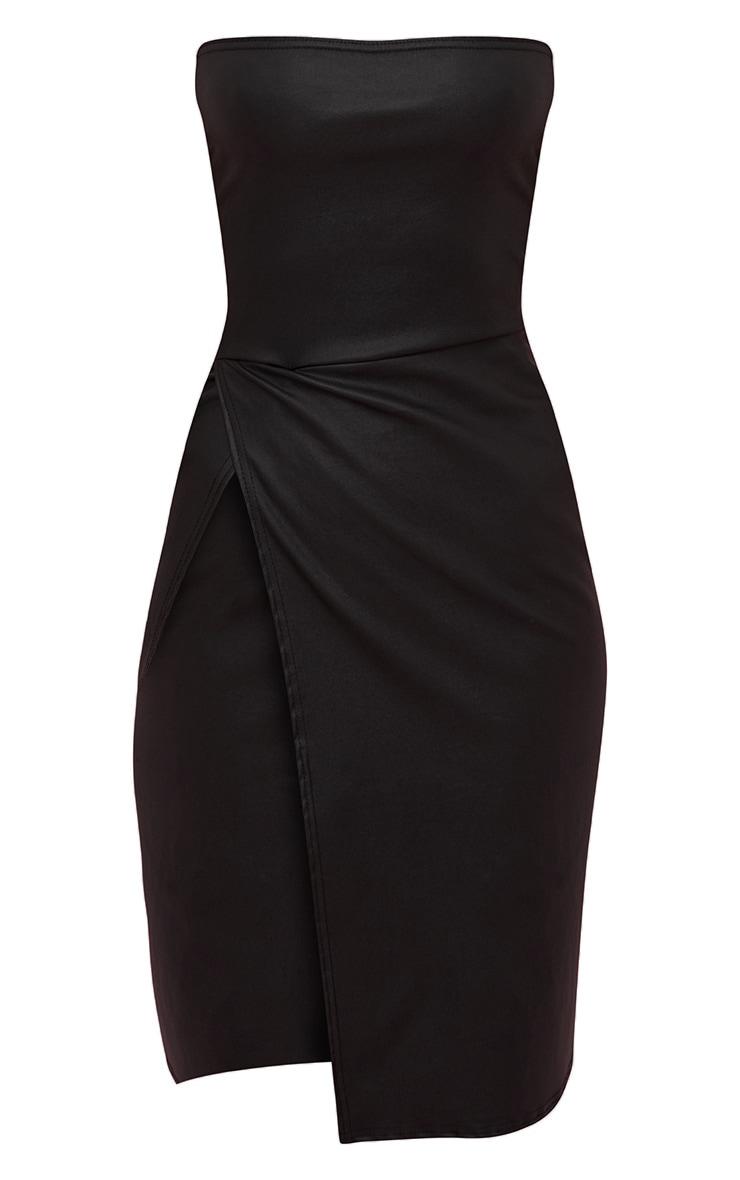 Black PU Extreme Split Bandeau Midi Dress 4