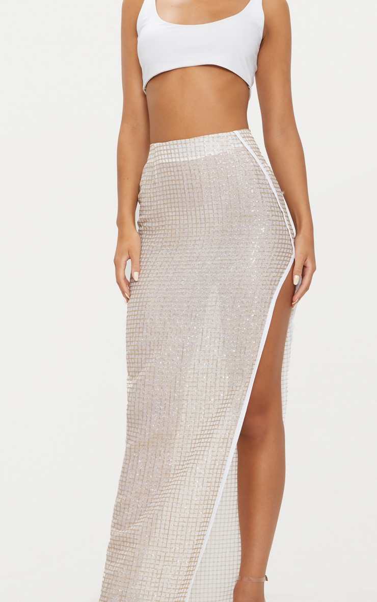Gold Sequin A-Symmetrical Skirt 5