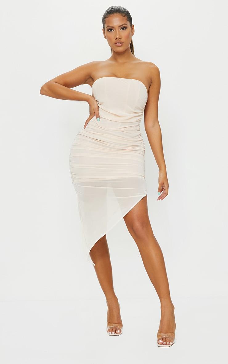 Shape Nude Chiffon Ruched Bandeau Drape Midi Dress 1