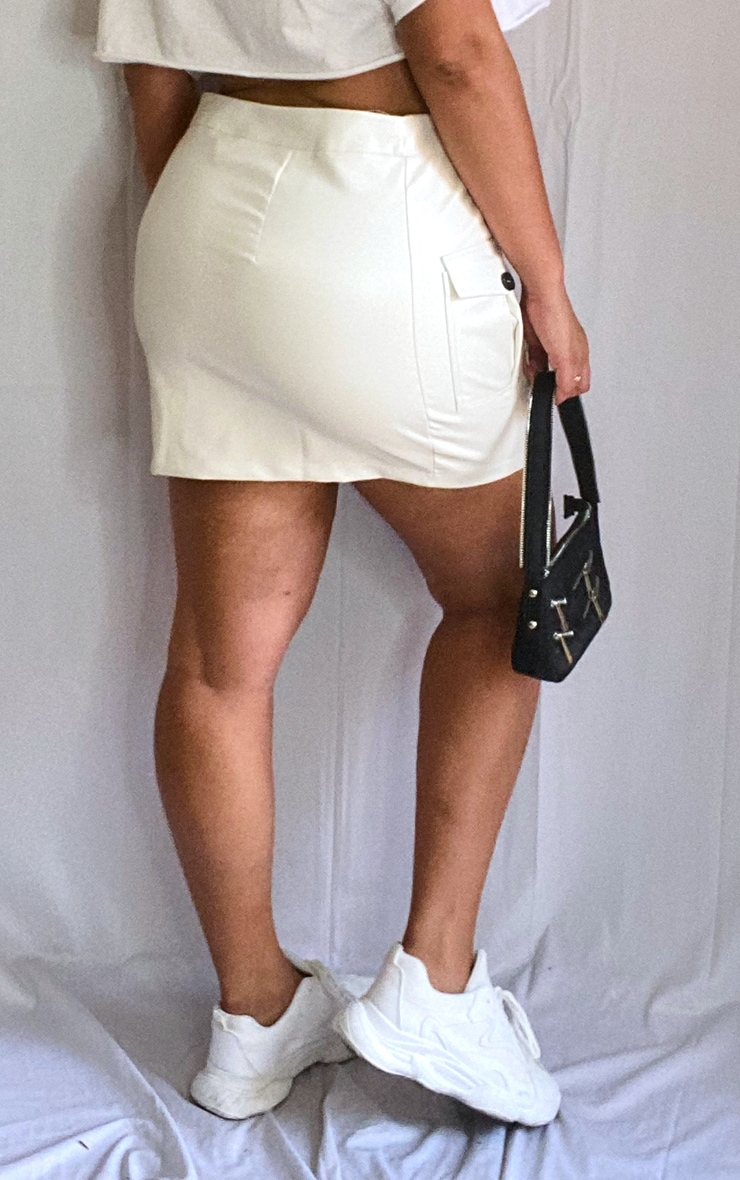 Plus Cream Faux Leather Cargo Pocket Front Mini Skirt 3