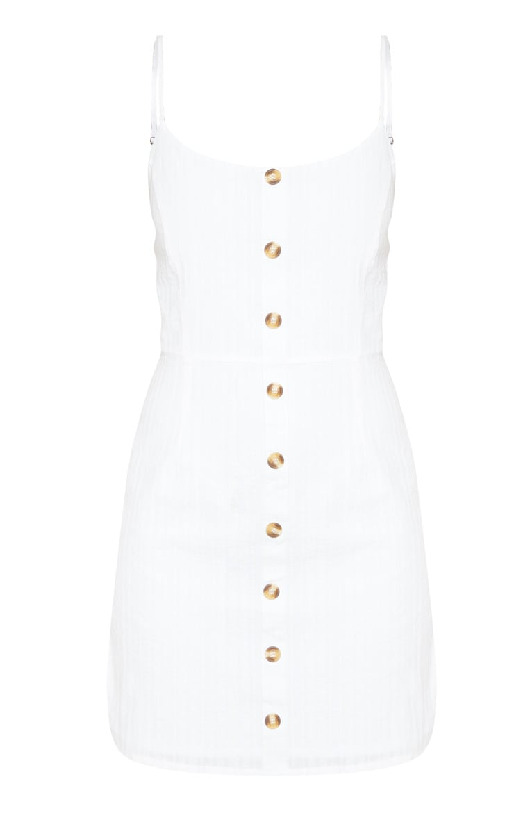 White Textured Wooden Button Tea Dress 3