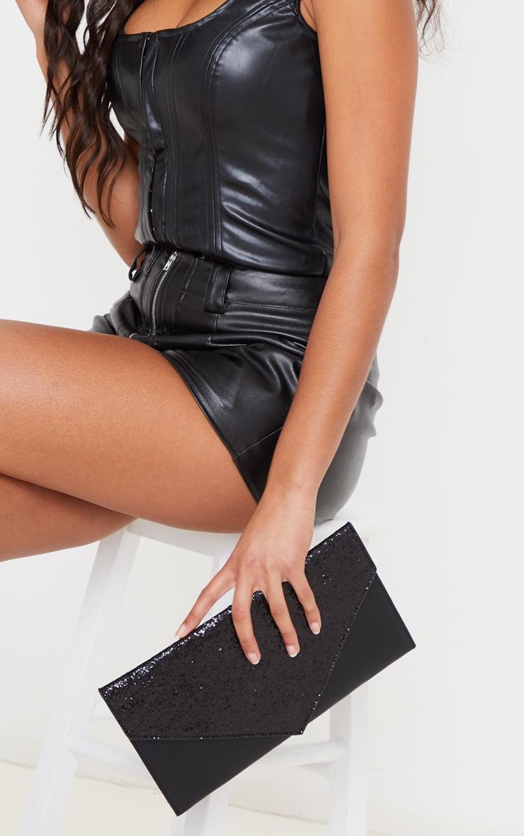 Black Glitter PU Contrast Clutch Bag 2