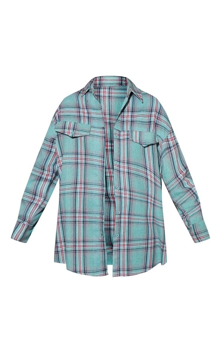 Sky Blue Tartan Checked Flannel Pocket Detail Oversized Shirt 5