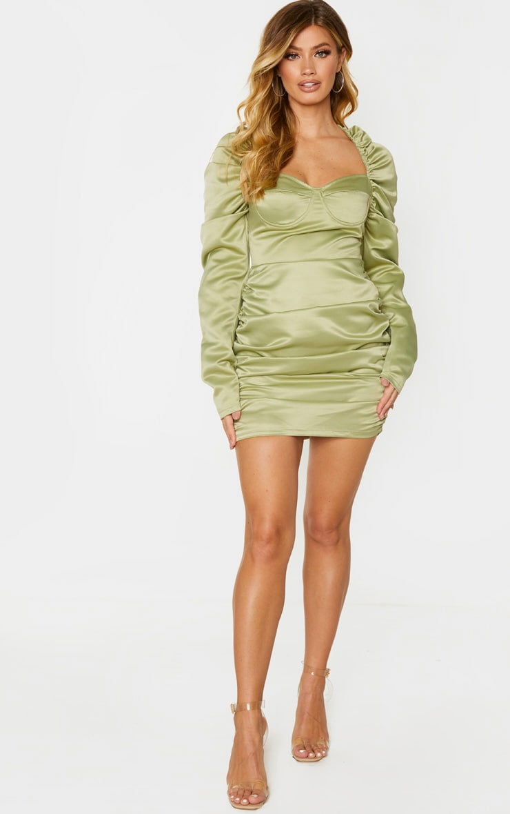 Sage Green Satin Ruched Underwired Cup Long Sleeve Bodycon Dress 1