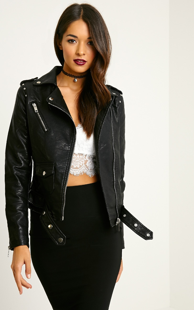 Jacklin Black Faux Leather Biker Jacket 1