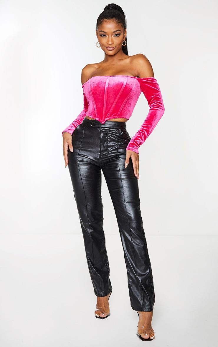 Shape Hot Pink Velvet Bardot Long Sleeve Corset 1
