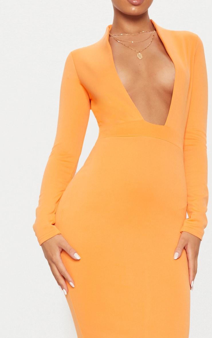 Orange Bonded Scuba Collar Plunge Midi Dress 5