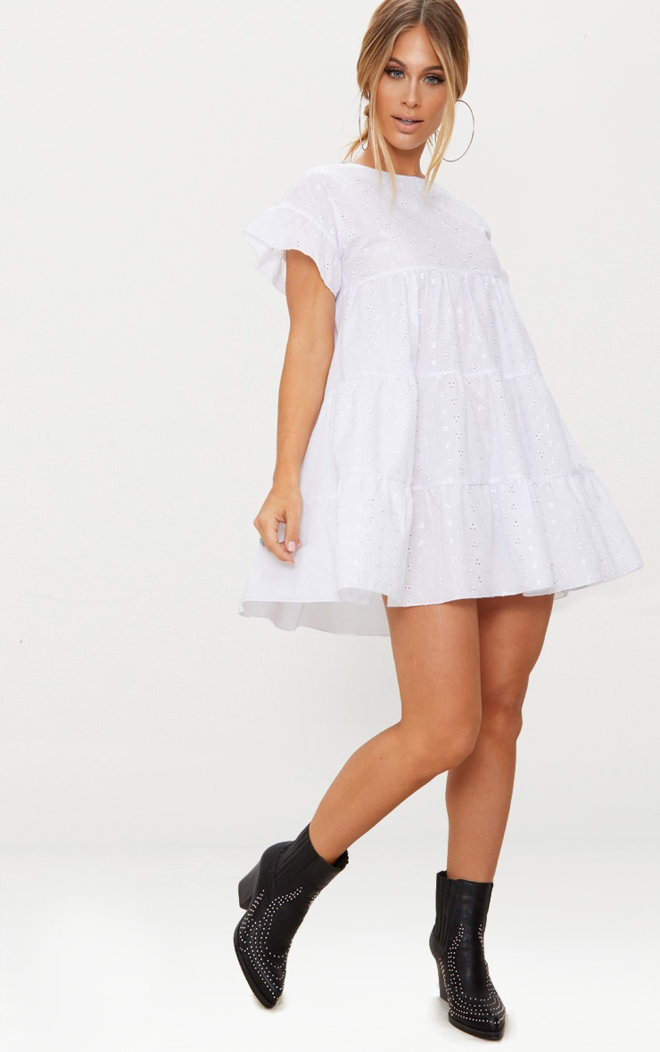 White Broderie Anglaise Smock Dress 1