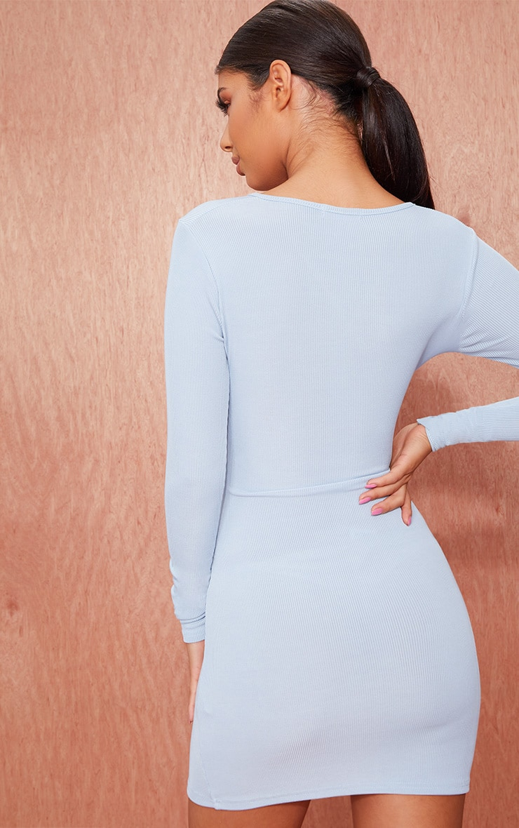 Dusty Blue Ribbed Long Sleeve Tie Front Bodycon Dress 2