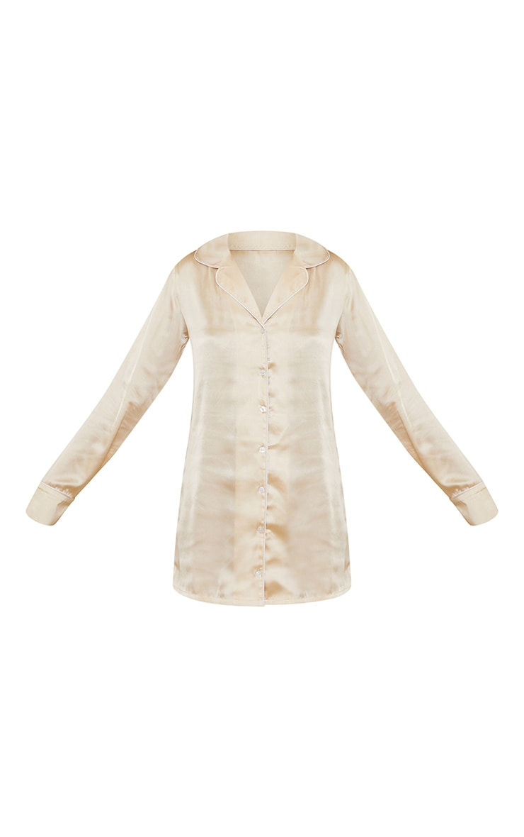 Champagne Mix And Match Piped Detail Satin Nightshirt 5