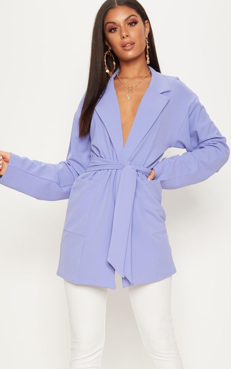 Blue Oversized Belted Blazer 1