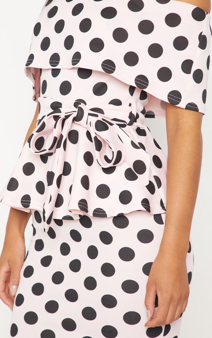 Pink Polka Dot Bardot Peplum Midi Dress 5