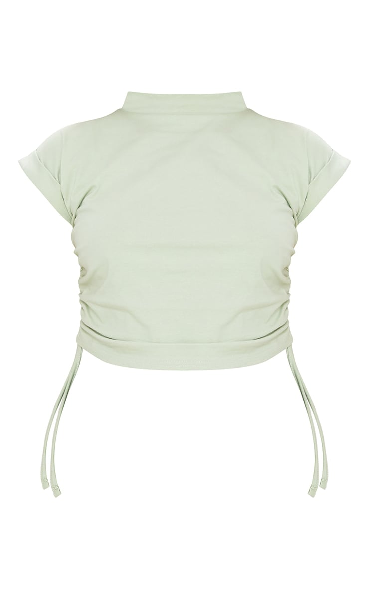 Petite Sage Green Cotton Ruched Side T-Shirt 5